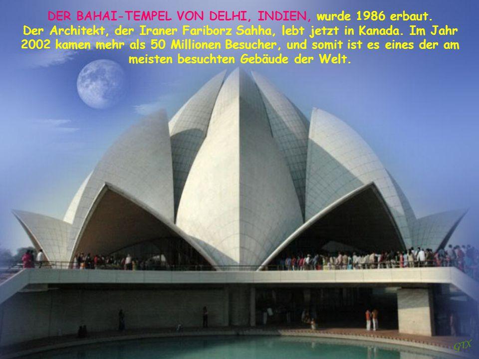 DER BAHAI-TEMPEL VON DELHI, INDIEN, wurde 1986 erbaut.