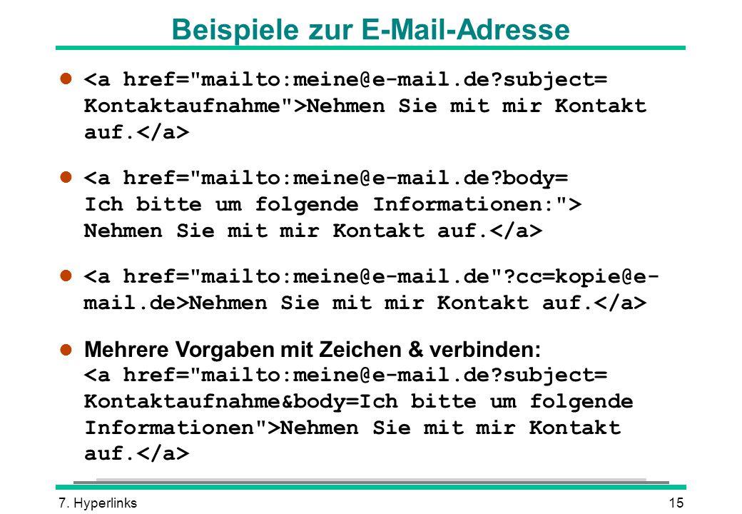 Beispiele zur E-Mail-Adresse