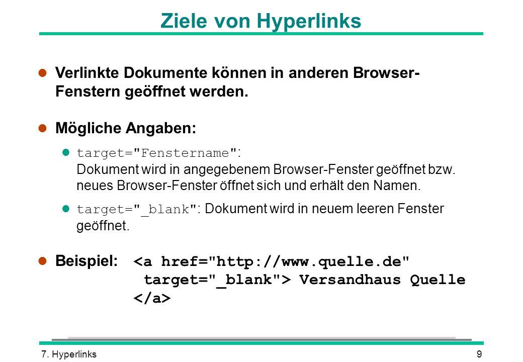 Ziele von Hyperlinks Verlinkte Dokumente können in anderen Browser- Fenstern geöffnet werden. Mögliche Angaben: