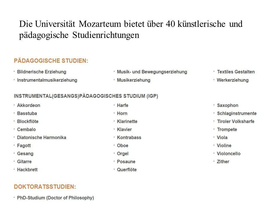Die Universität Mozarteum bietet über 40 künstlerische und pädagogische Studienrichtungen
