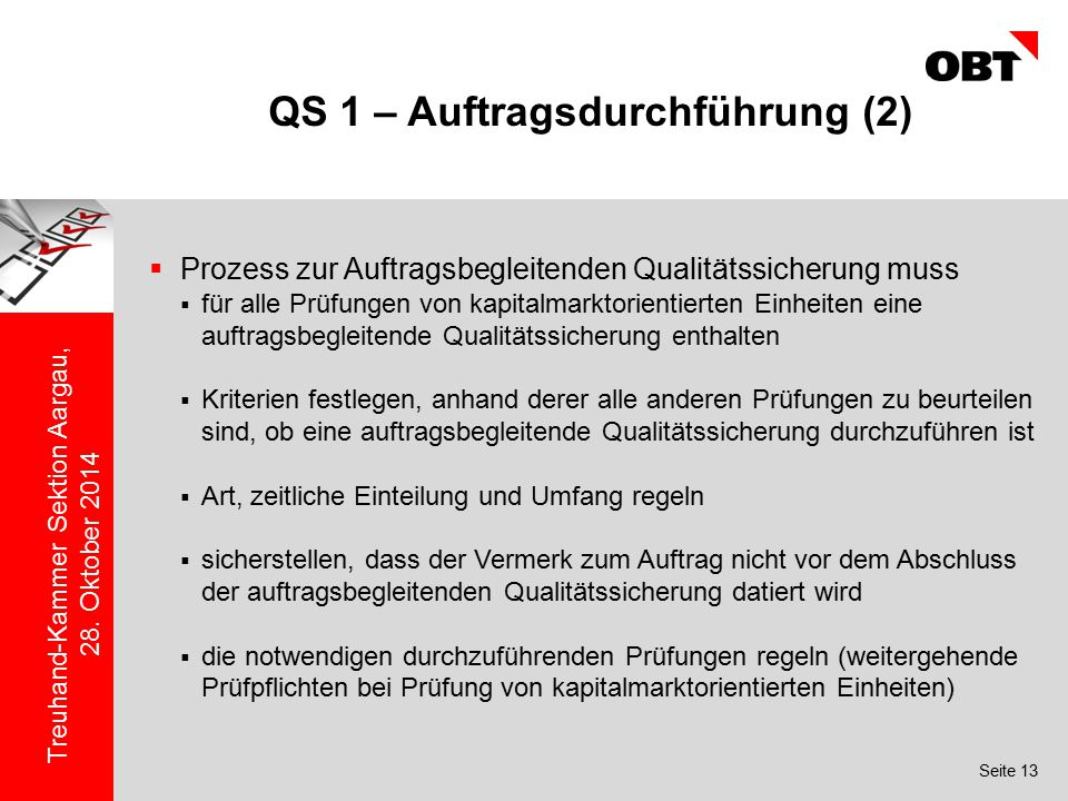 QS 1 – Auftragsdurchführung (2)