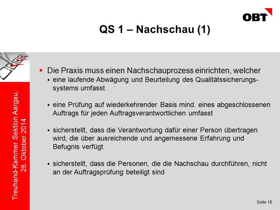 QS 1 – Nachschau (1) Die Praxis muss einen Nachschauprozess einrichten, welcher.