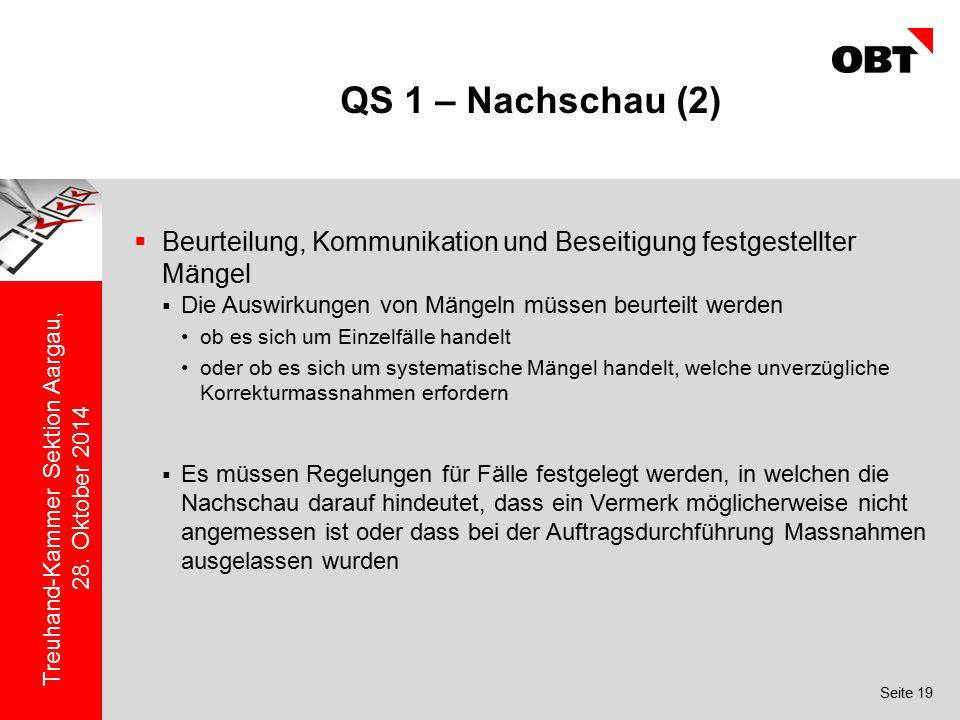 QS 1 – Nachschau (2) Beurteilung, Kommunikation und Beseitigung festgestellter Mängel. Die Auswirkungen von Mängeln müssen beurteilt werden.