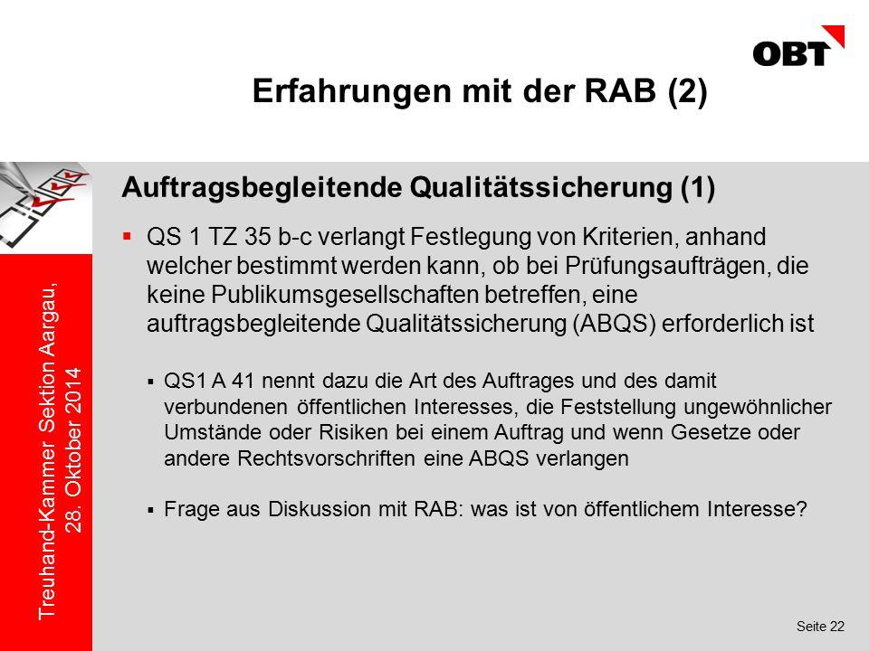 Erfahrungen mit der RAB (2)