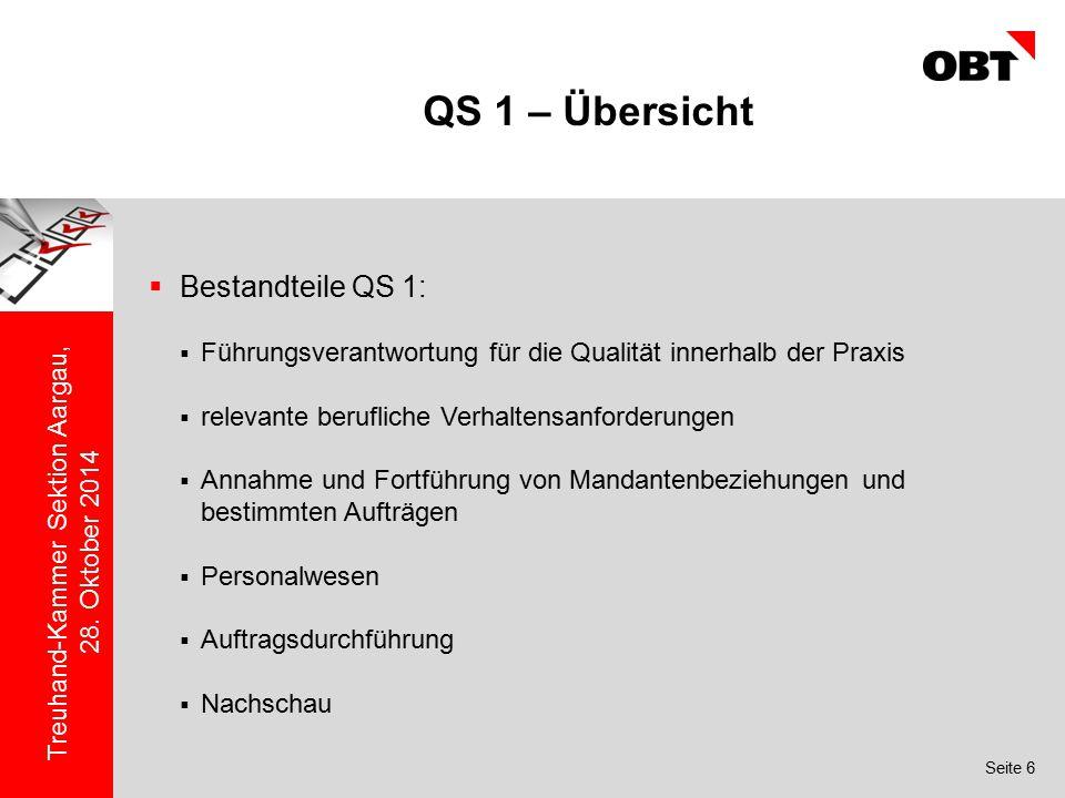 QS 1 – Übersicht Bestandteile QS 1: