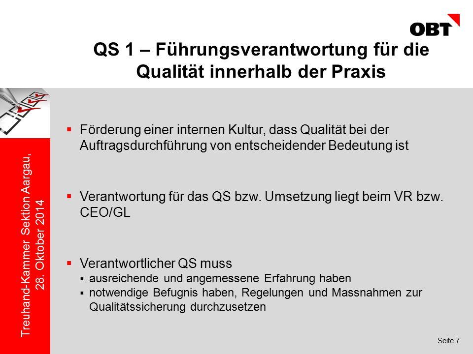 QS 1 – Führungsverantwortung für die Qualität innerhalb der Praxis