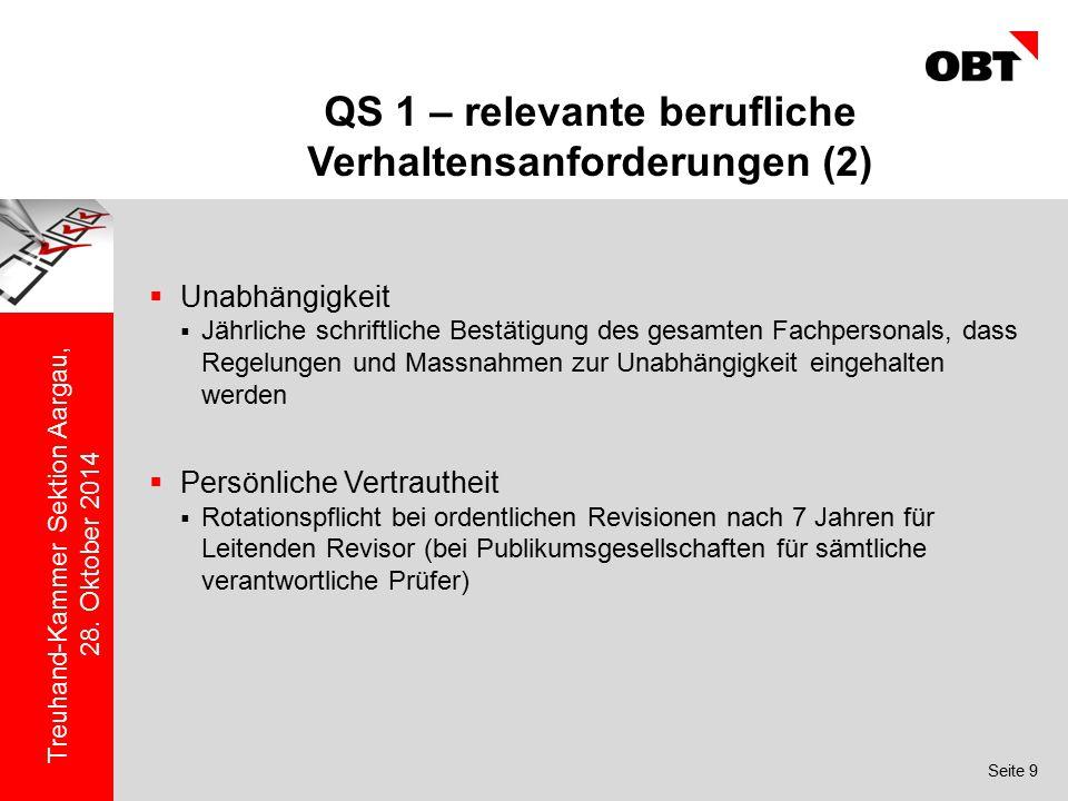 QS 1 – relevante berufliche Verhaltensanforderungen (2)