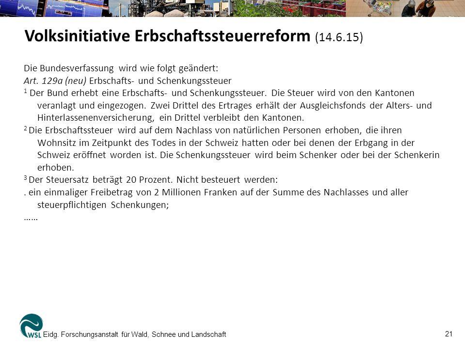 Volksinitiative Erbschaftssteuerreform (14.6.15)