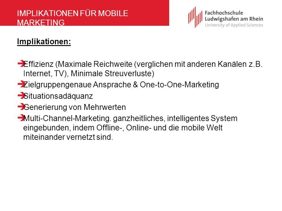 Implikationen FÜR MOBILE MARKETING