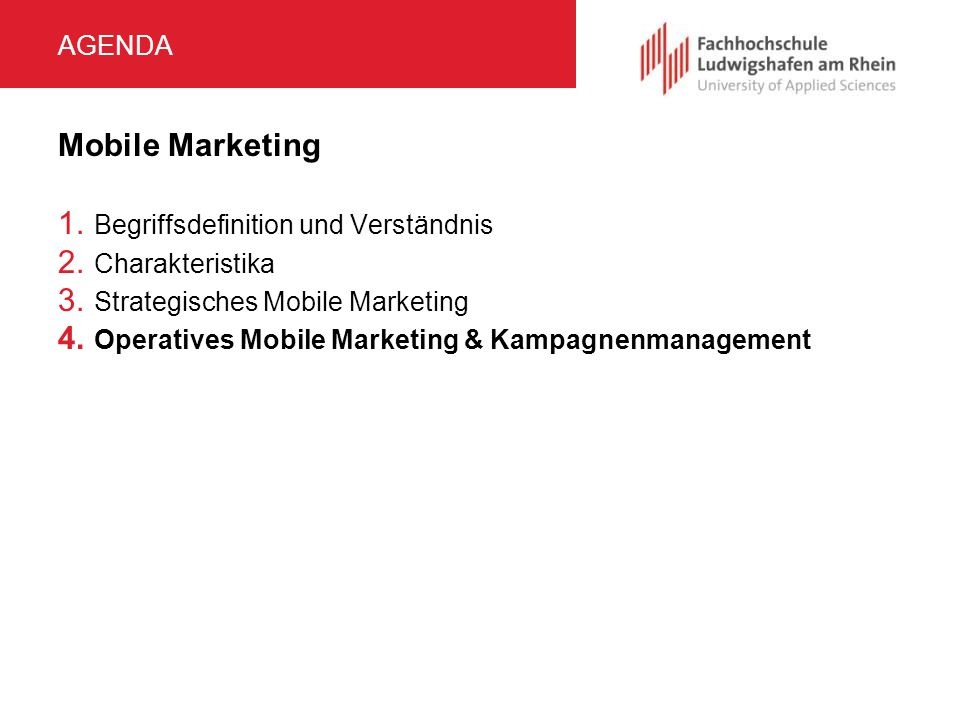 Mobile Marketing Agenda Begriffsdefinition und Verständnis