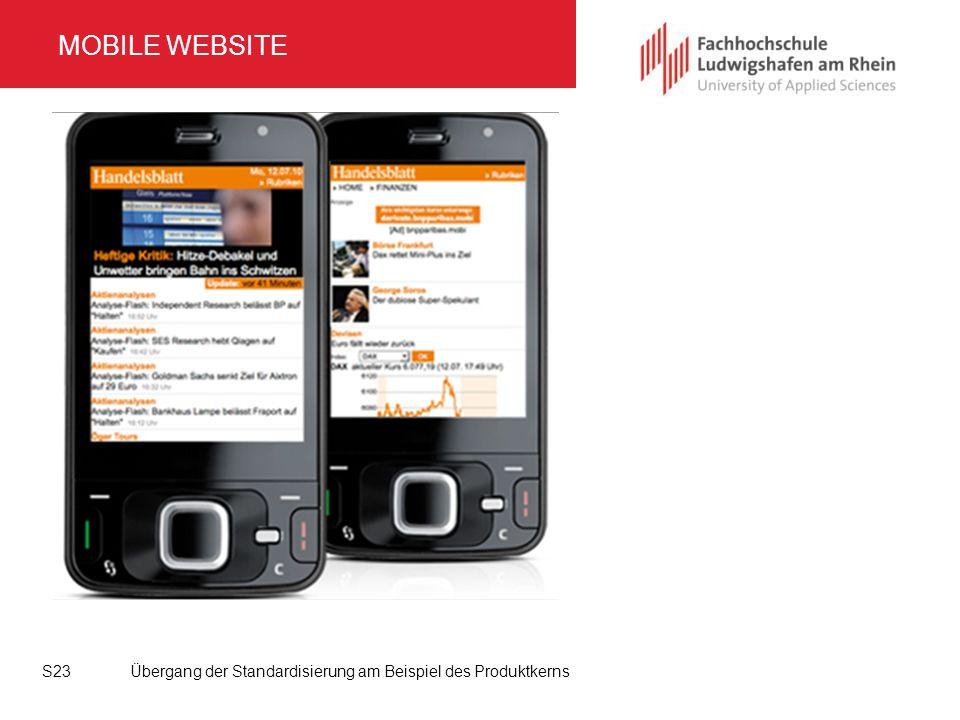MOBILE WEBSITE Übergang der Standardisierung am Beispiel des Produktkerns