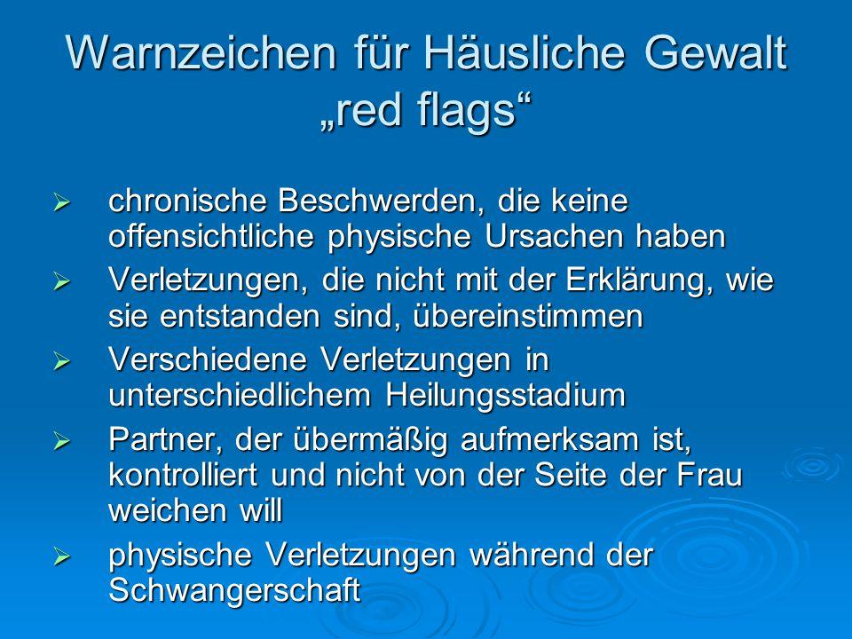 """Warnzeichen für Häusliche Gewalt """"red flags"""