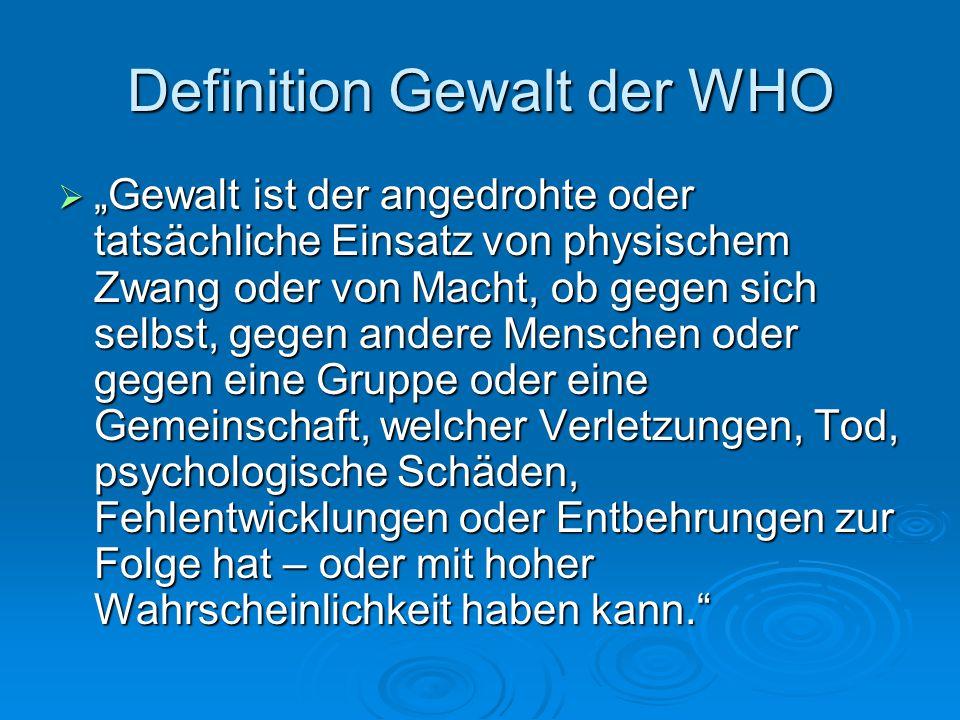 Definition Gewalt der WHO