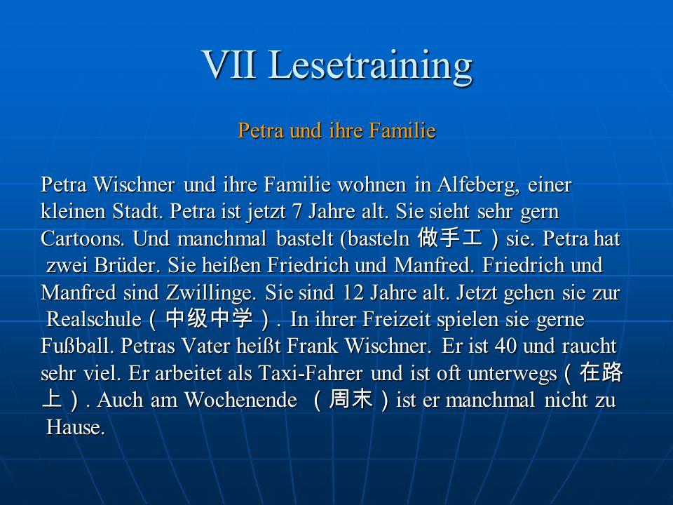VII Lesetraining Petra und ihre Familie