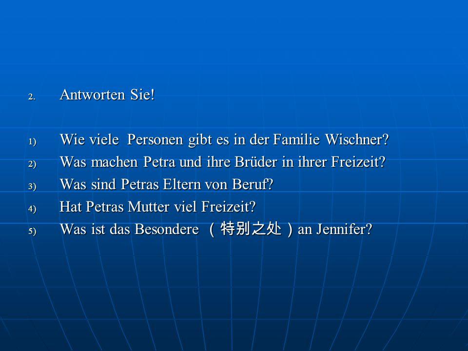 Antworten Sie! Wie viele Personen gibt es in der Familie Wischner Was machen Petra und ihre Brüder in ihrer Freizeit