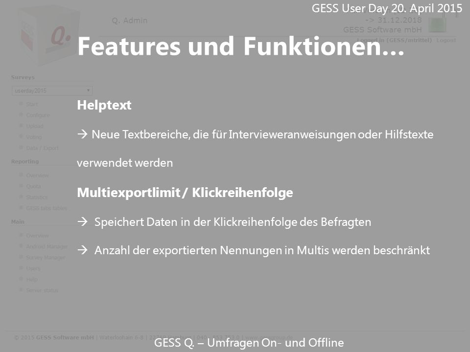 Features und Funktionen…