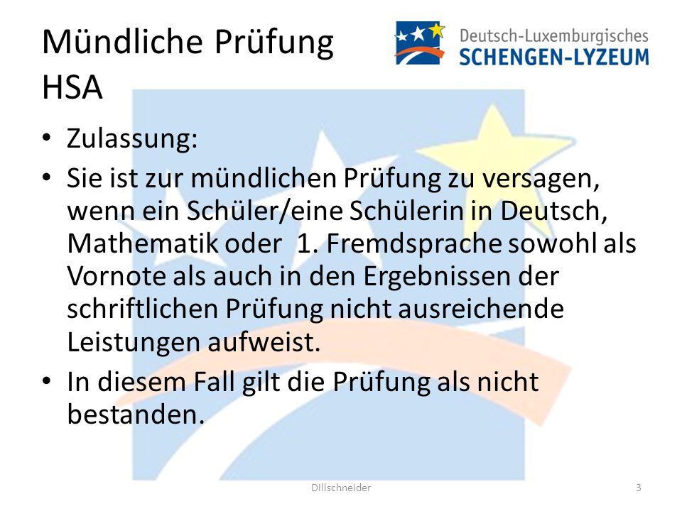 Mündliche Prüfung HSA Zulassung: