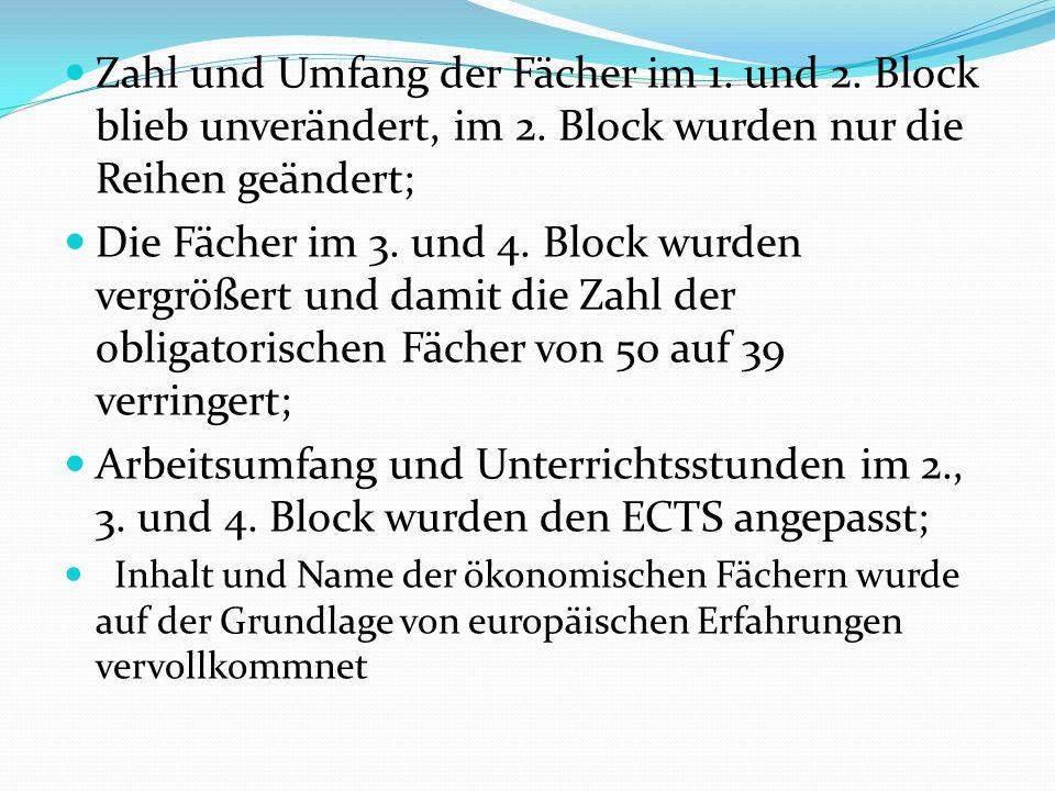 Zahl und Umfang der Fächer im 1. und 2. Block blieb unverändert, im 2