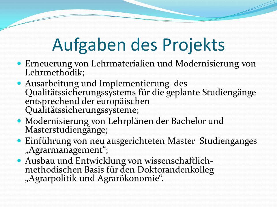 Aufgaben des Projekts Erneuerung von Lehrmaterialien und Modernisierung von Lehrmethodik;