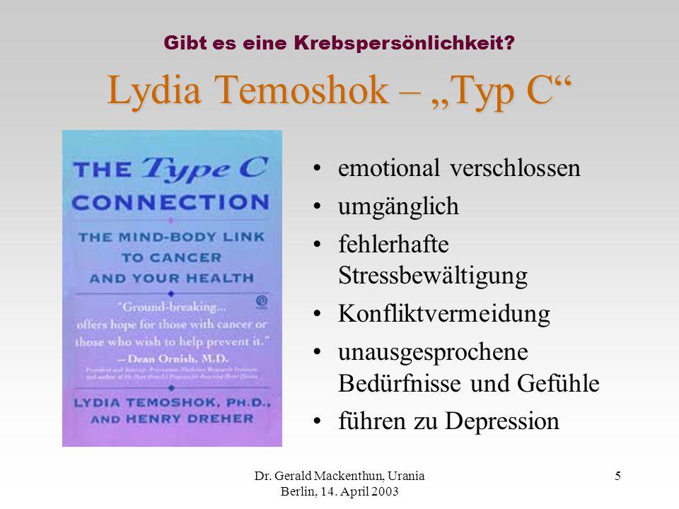 """Lydia Temoshok – """"Typ C"""