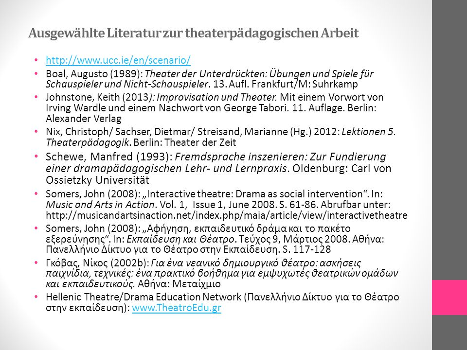 Ausgewählte Literatur zur theaterpädagogischen Arbeit