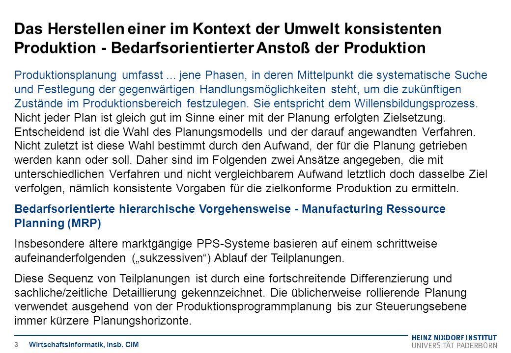 Das Herstellen einer im Kontext der Umwelt konsistenten Produktion - Bedarfsorientierter Anstoß der Produktion