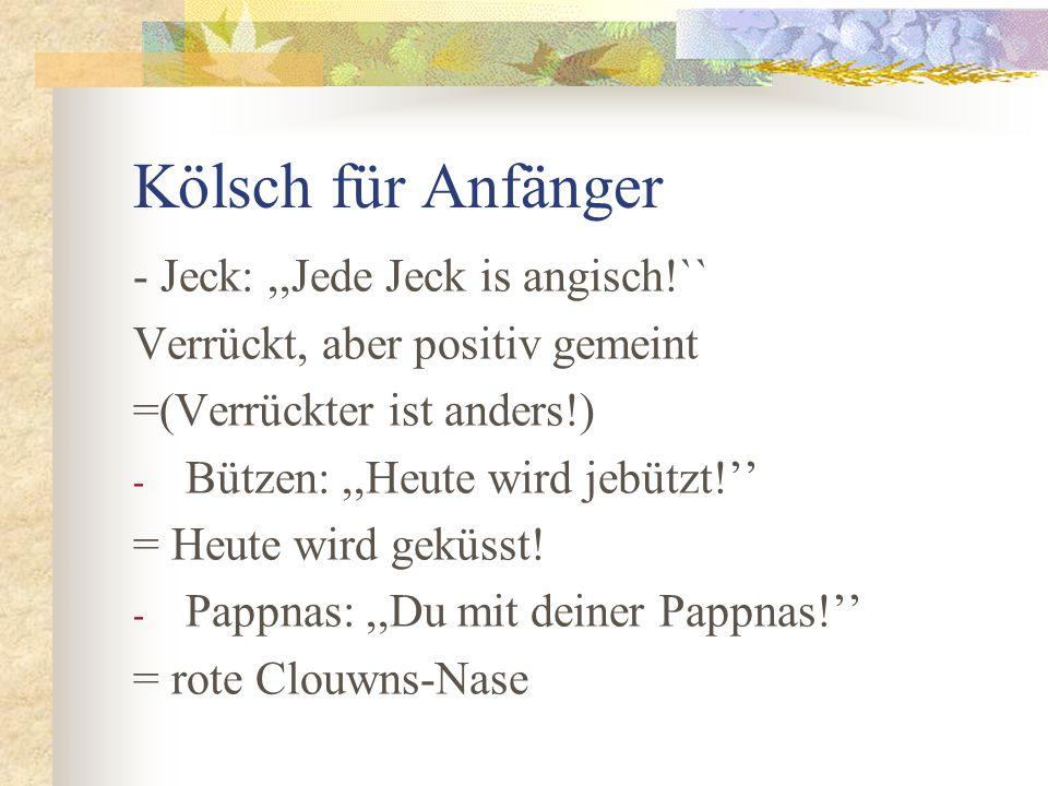 Kölsch für Anfänger - Jeck: ,,Jede Jeck is angisch!``