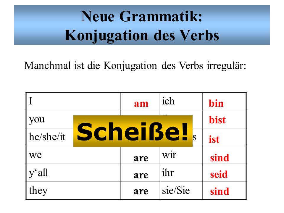 Neue Grammatik: Konjugation des Verbs