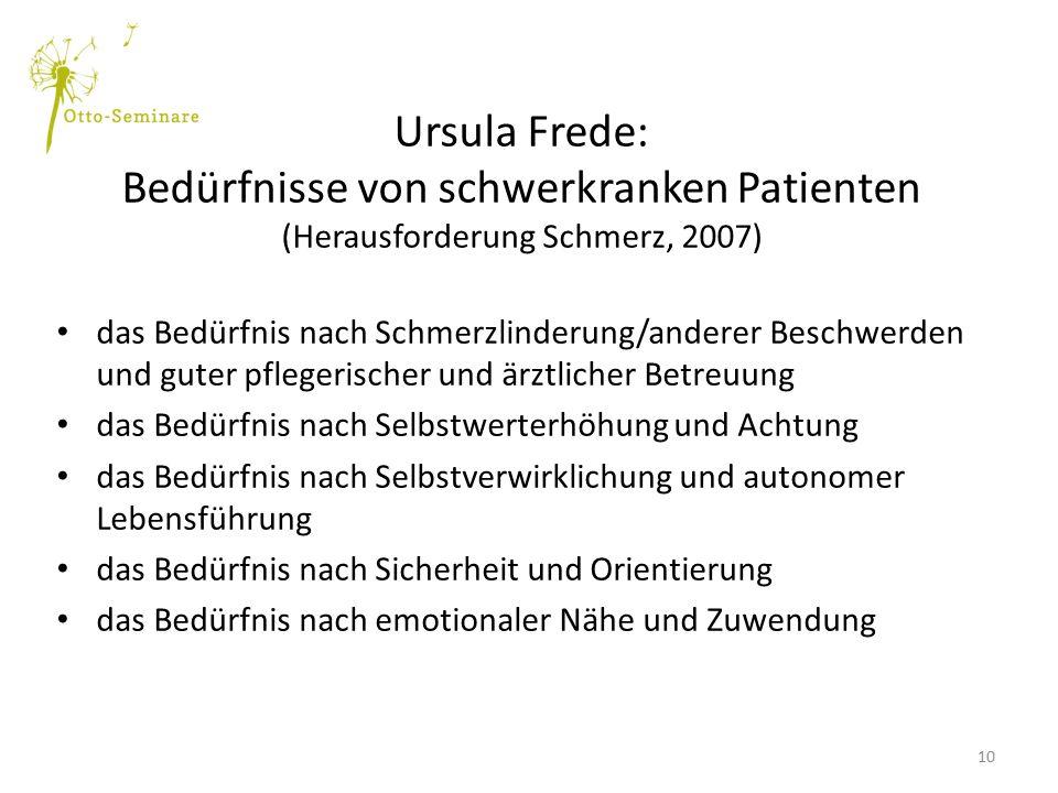 Ursula Frede: Bedürfnisse von schwerkranken Patienten (Herausforderung Schmerz, 2007)