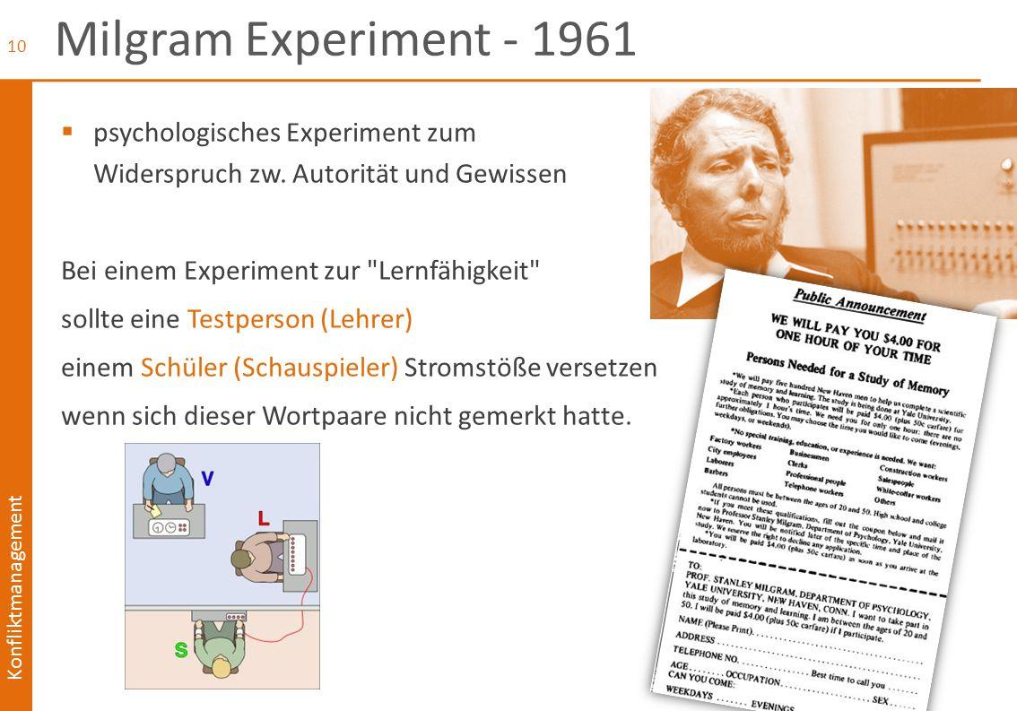 Milgram Experiment - 1961 psychologisches Experiment zum Widerspruch zw. Autorität und Gewissen. Bei einem Experiment zur Lernfähigkeit