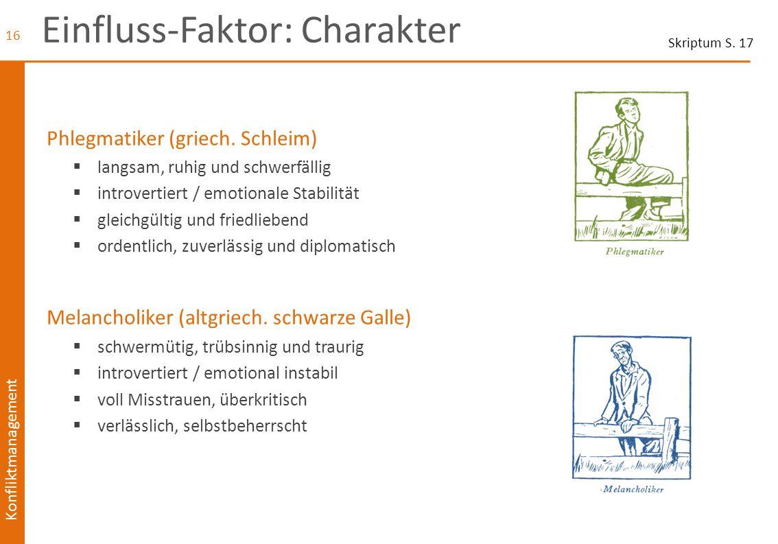 Einfluss-Faktor: Charakter