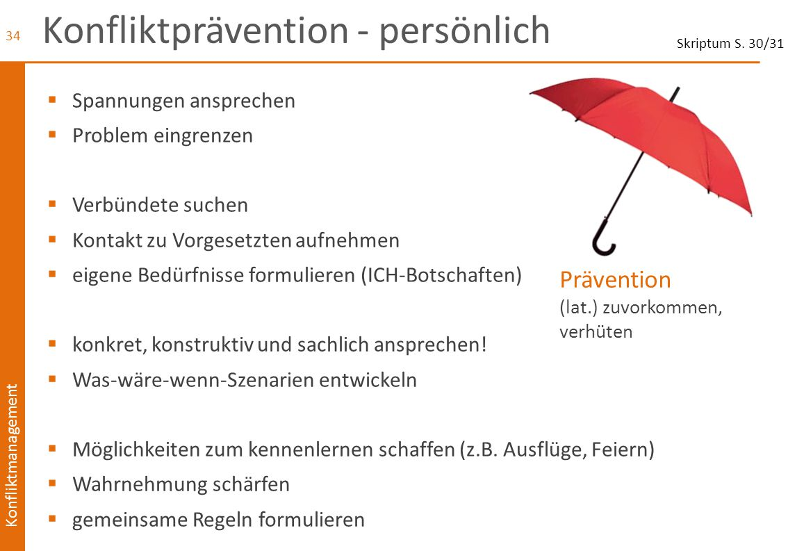 Konfliktprävention - persönlich