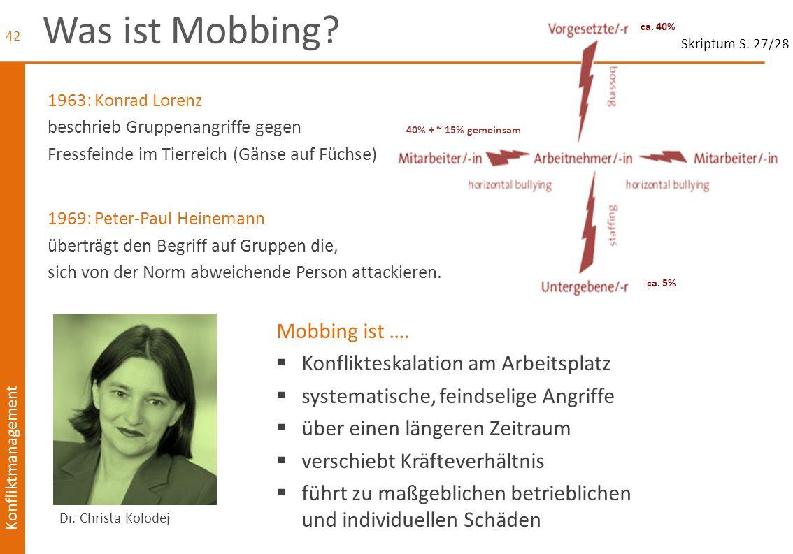 Was ist Mobbing Mobbing ist …. Konflikteskalation am Arbeitsplatz