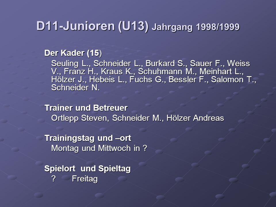 D11-Junioren (U13) Jahrgang 1998/1999