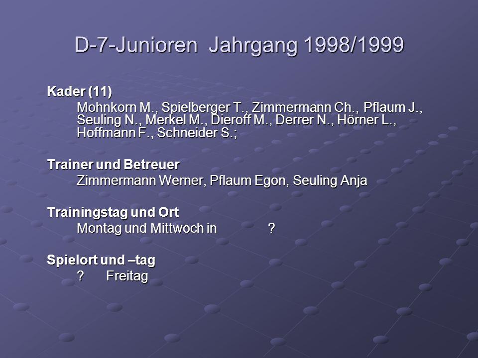 D-7-Junioren Jahrgang 1998/1999