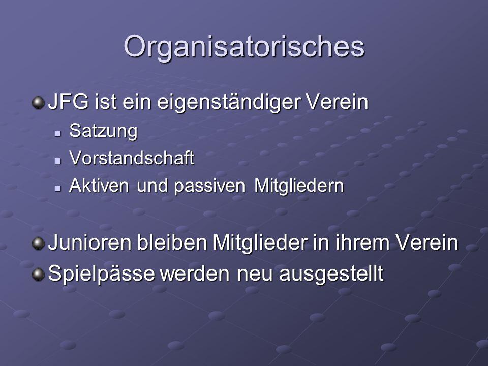Organisatorisches JFG ist ein eigenständiger Verein