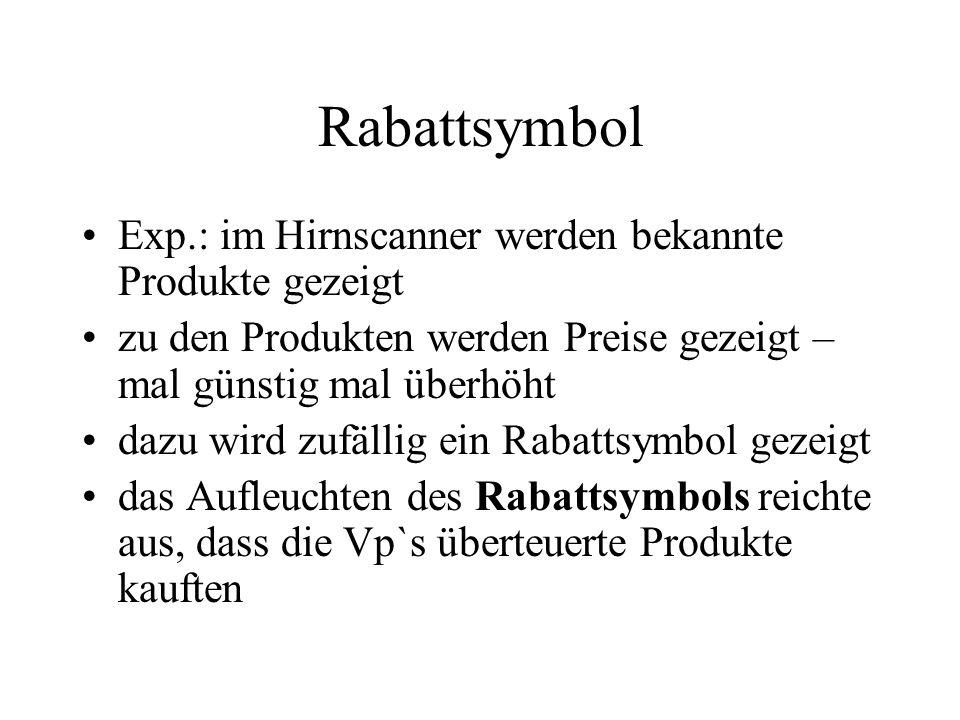 Rabattsymbol Exp.: im Hirnscanner werden bekannte Produkte gezeigt
