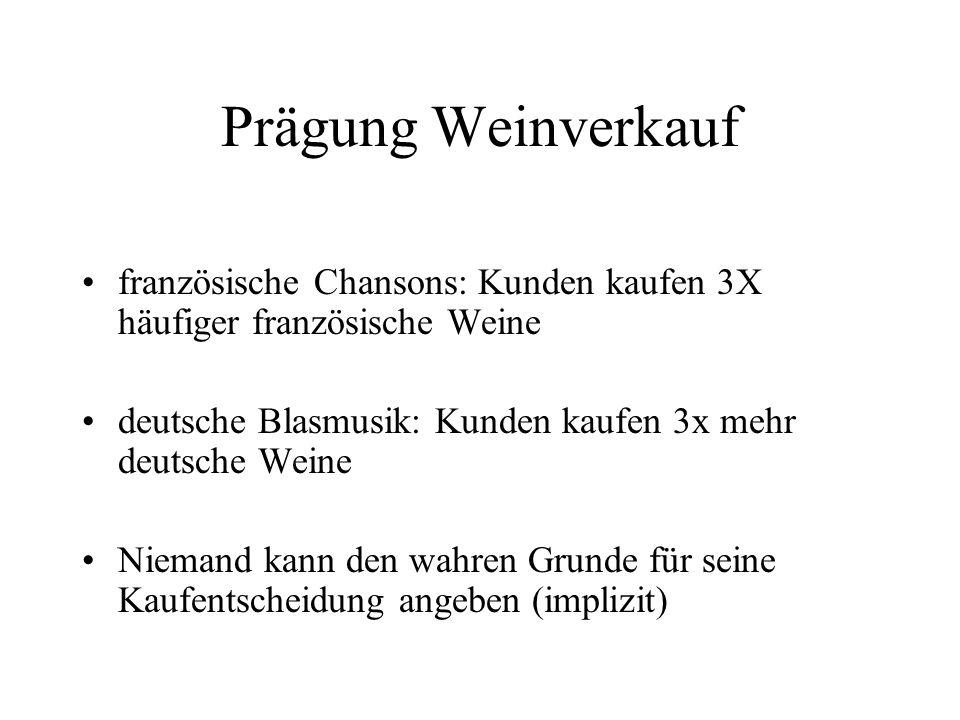 Prägung Weinverkauf französische Chansons: Kunden kaufen 3X häufiger französische Weine. deutsche Blasmusik: Kunden kaufen 3x mehr deutsche Weine.