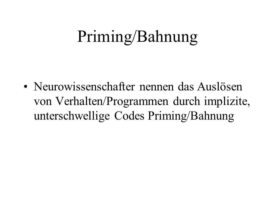 Priming/Bahnung Neurowissenschafter nennen das Auslösen von Verhalten/Programmen durch implizite, unterschwellige Codes Priming/Bahnung.