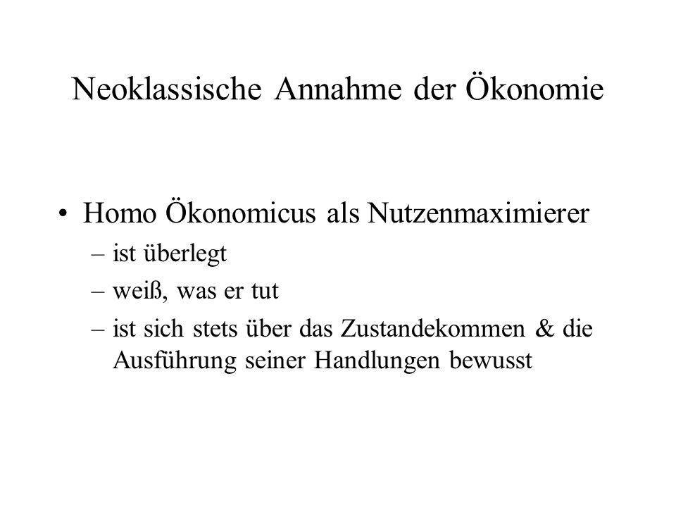 Neoklassische Annahme der Ökonomie