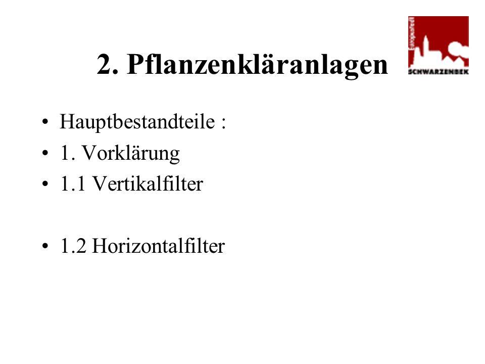 2. Pflanzenkläranlagen Hauptbestandteile : 1. Vorklärung