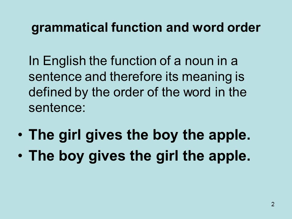 grammatical function and word order