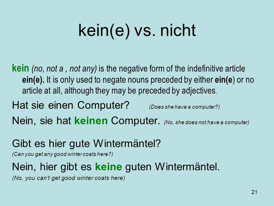 kein(e) vs. nicht