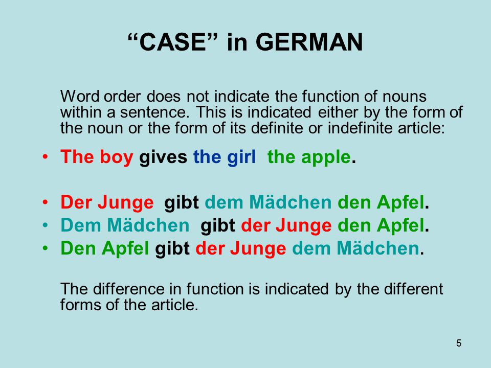 CASE in GERMAN The boy gives the girl the apple.