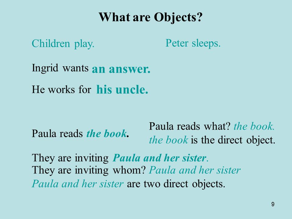 What are Objects his uncle. Children play. Peter sleeps. Ingrid wants