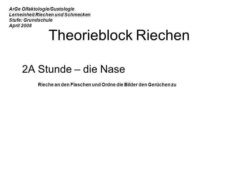 Theorieblock Riechen 2A Stunde – die Nase ArGe Olfaktologie/Gustologie