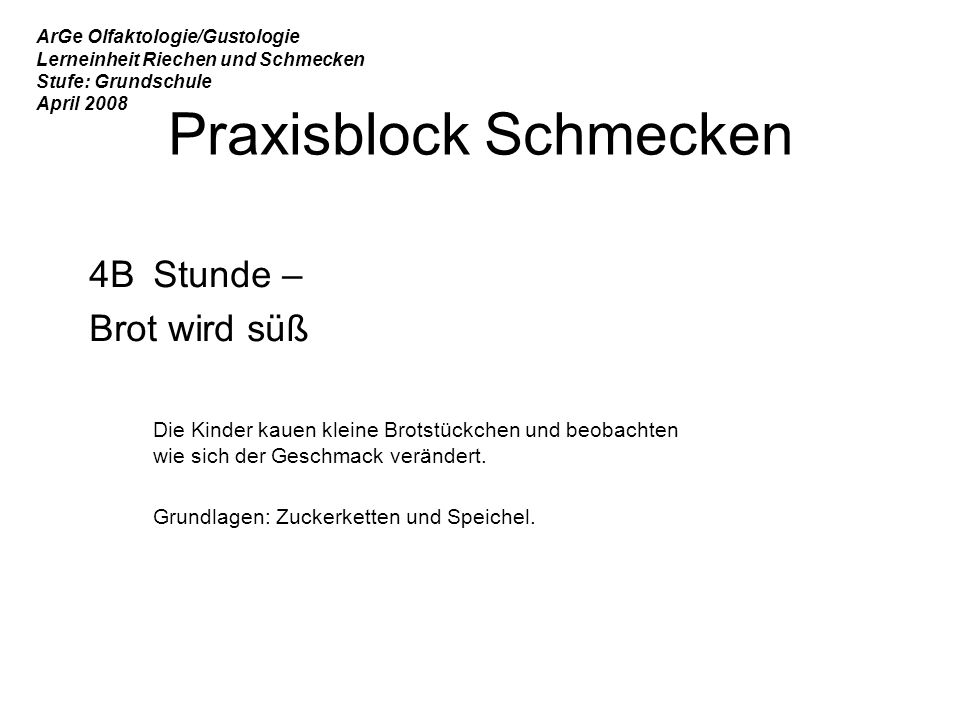 Praxisblock Schmecken