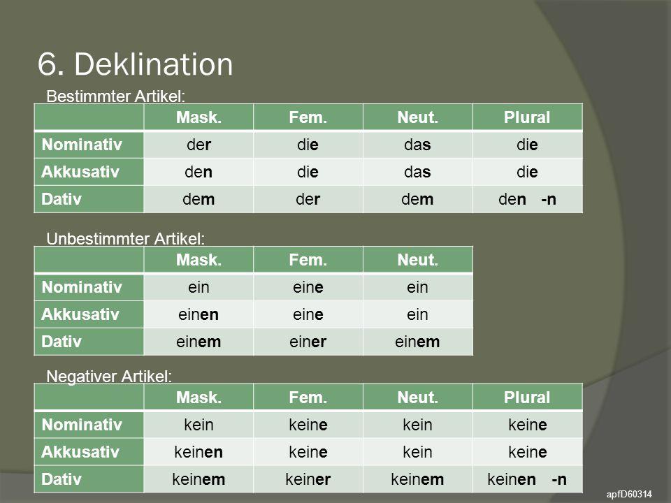 6. Deklination Bestimmter Artikel: Mask. Fem. Neut. Plural Nominativ