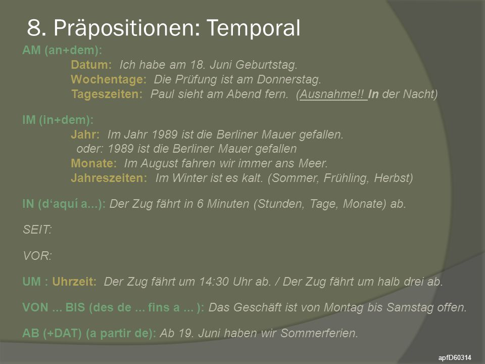 8. Präpositionen: Temporal