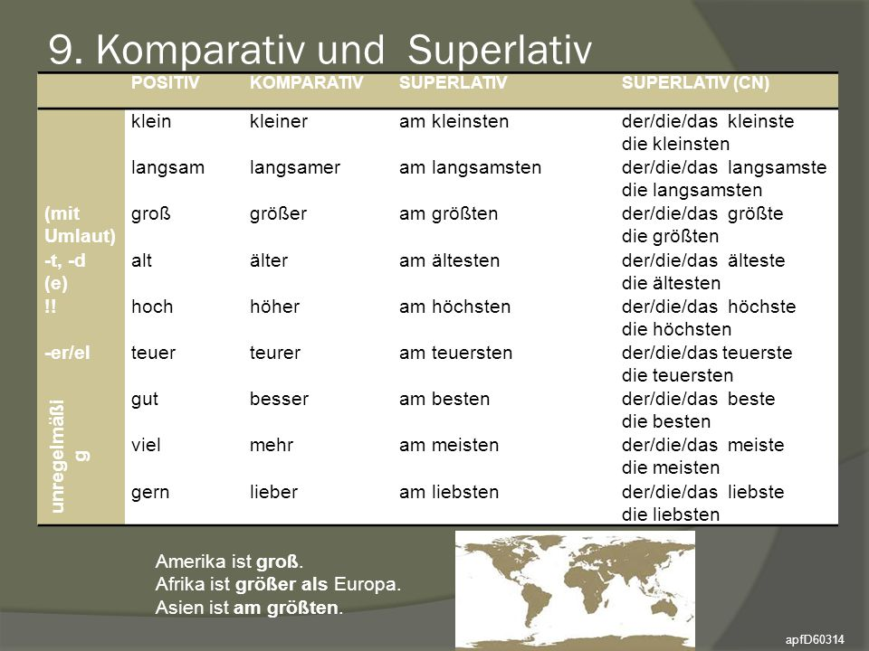 9. Komparativ und Superlativ